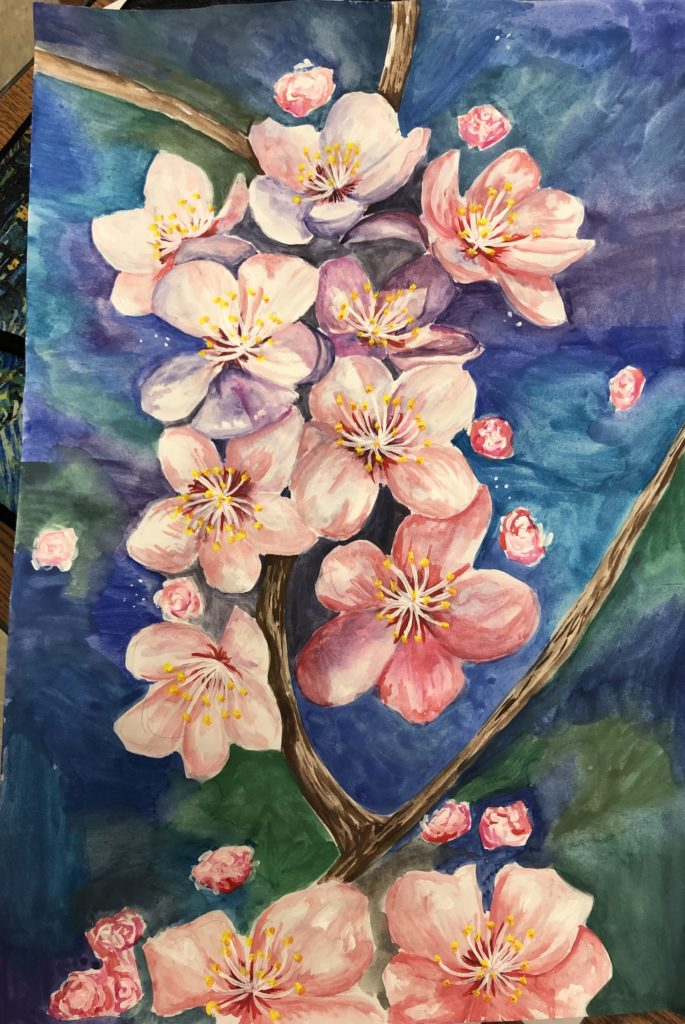 Cherry Blossoms, Claire Megginson, 11th Grade, Spanish Fort High School, Painting, Mixed