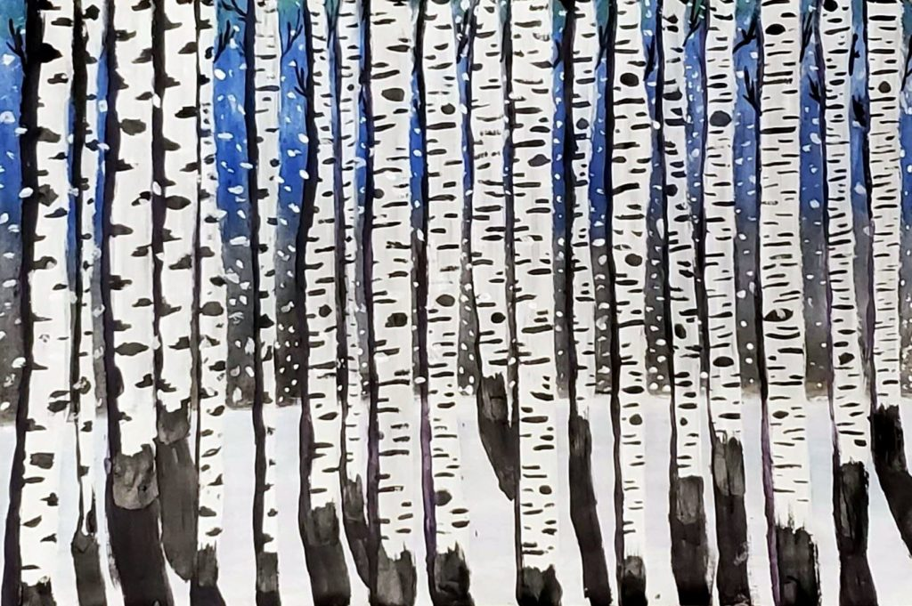 Crowded Trees, Isabella Charlton, 7th Grade, Daphne Middle School, Painting, Acrylics