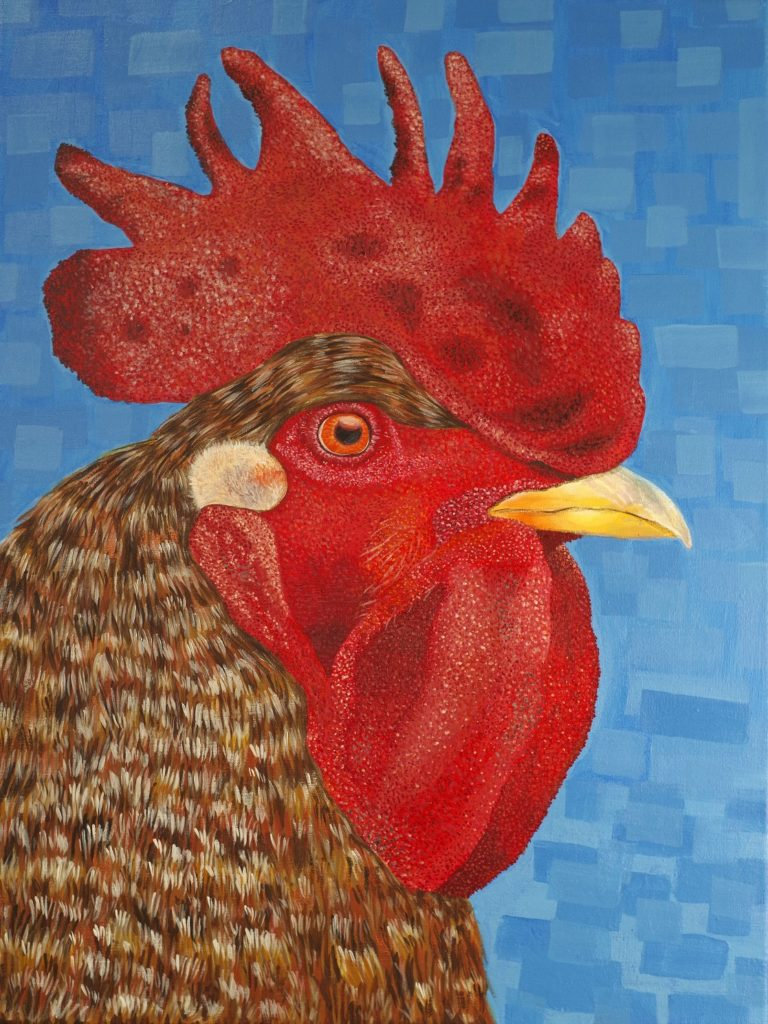 Rooster, Isabelle Rutland, 9th Grade, Bayside Academy, Painting, Acrylic