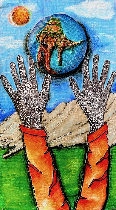 Our World Ravaged by the Virus, Julia Porter, Elberta Middle School, Drawing, Oil Pastel