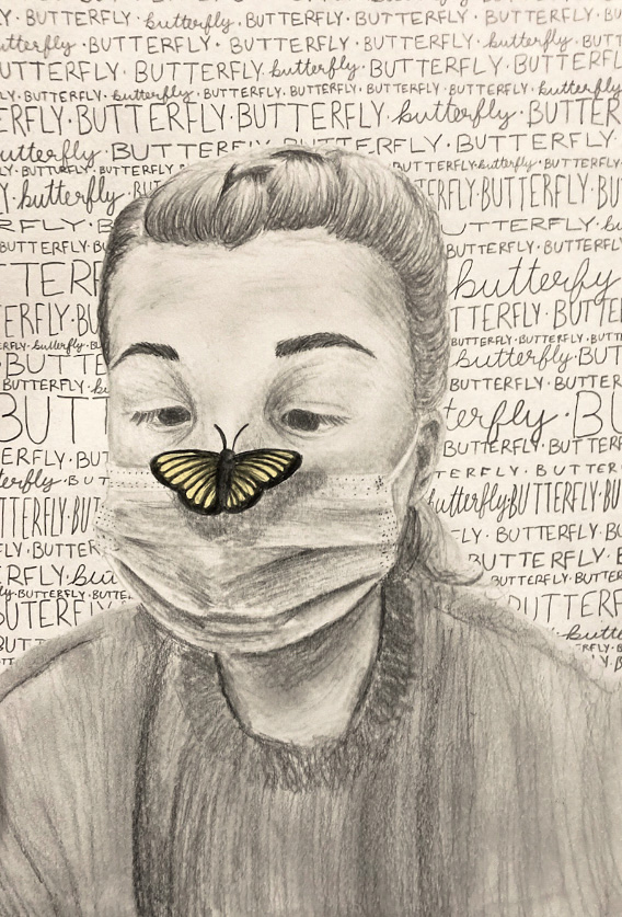 Butterfly, Kara Decker, 9th Grade, Fairhope High School, Drawing, Graphite on Paper