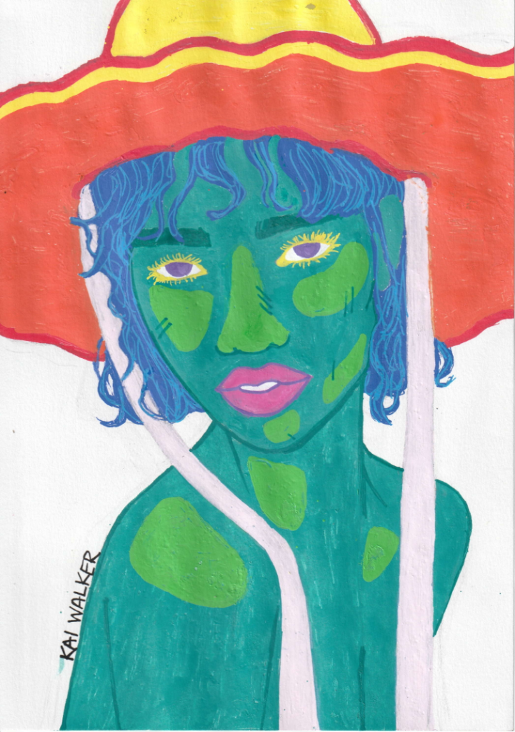 Sun Hat, Kylee Walker, 12th Grade, Mary G. Montgomery High School, Drawing, Paint Markers on Paper