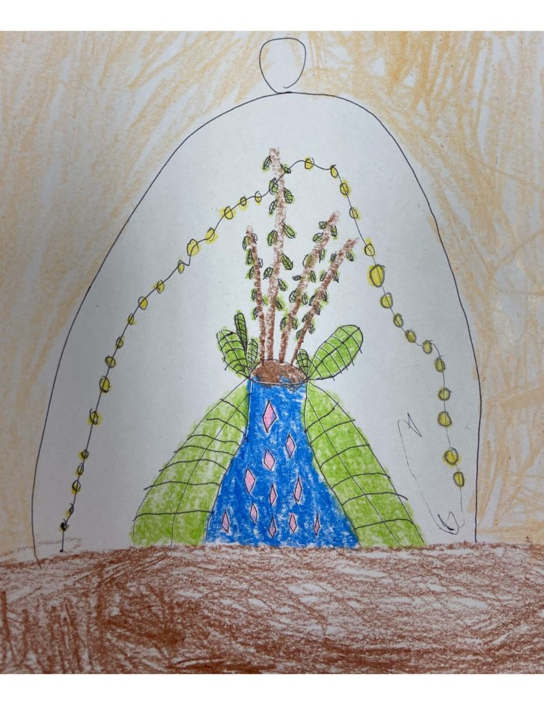 My Plant,  Leiya Tan, Crayons and Pen on Paper