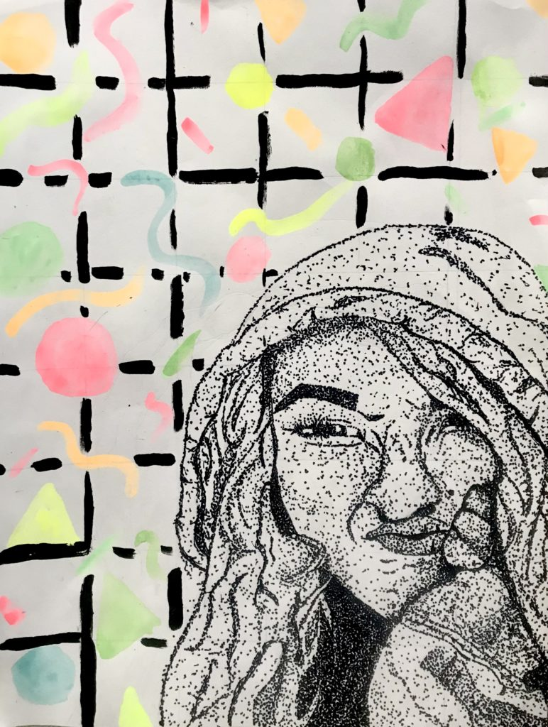 Self Portrait, Lilly Trame, 9th Grade, Fairhope High School, Mixed Media, Sharpie, Acrylic Paint, and Watercolor on Paper