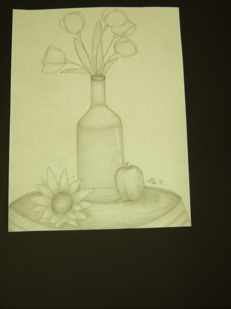 Still Life in Pencil, Lily Tran, 7th Grade, Burns Middle School, Drawing, Pencil