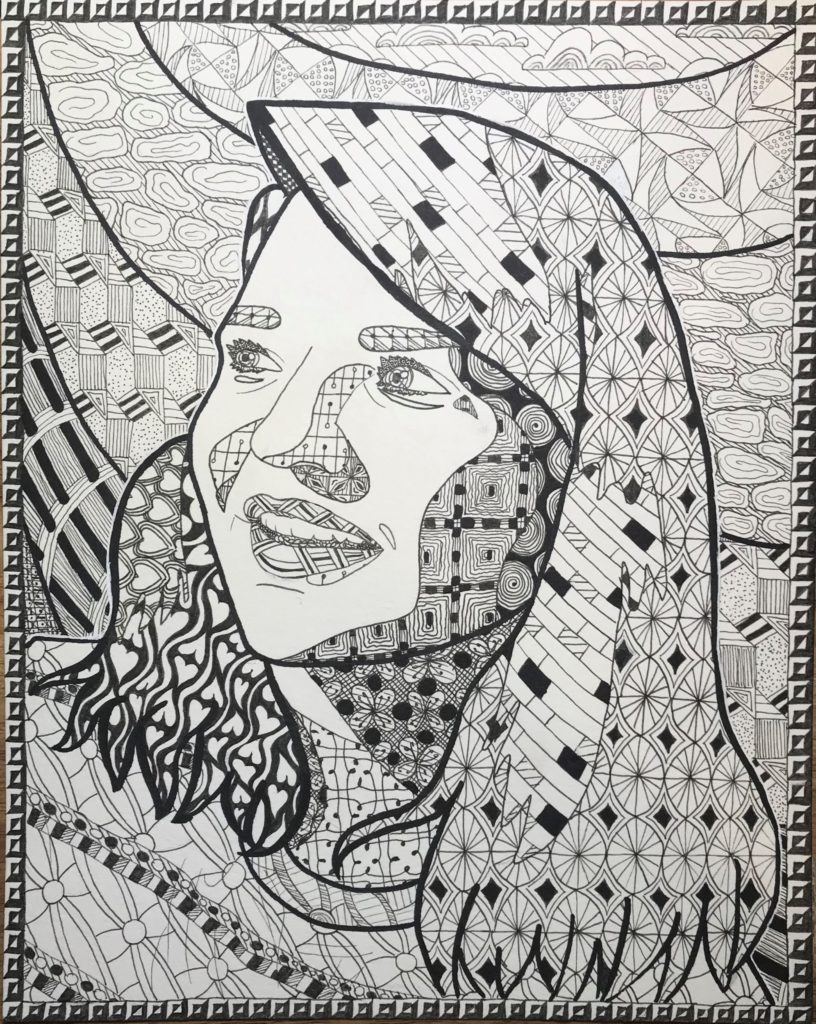 Self Portrait, Madison Robertson, 11th Grade, Bryant High School, Drawing, Pen and Ink