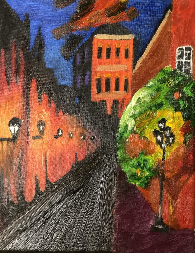 Nighttime in the CIty, Maggie Davis, 12th Grade, Robertsdale Hight School, Painting, Oil on Canvas