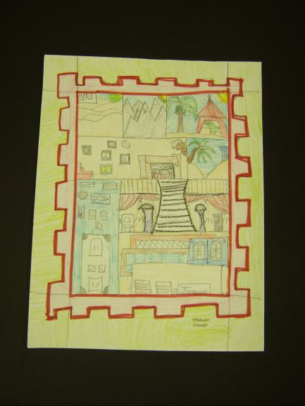 Stamp Design, Malcolm Wheaten, 7th Grade,  Cranford Burns Middle School, Drawing, Color Pencils
