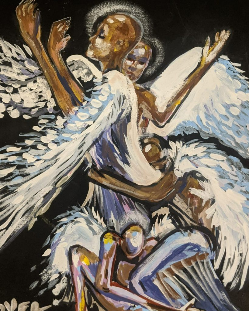 Even angels pray,  Ty Tover, Acrylic Paint on Canvas, $100