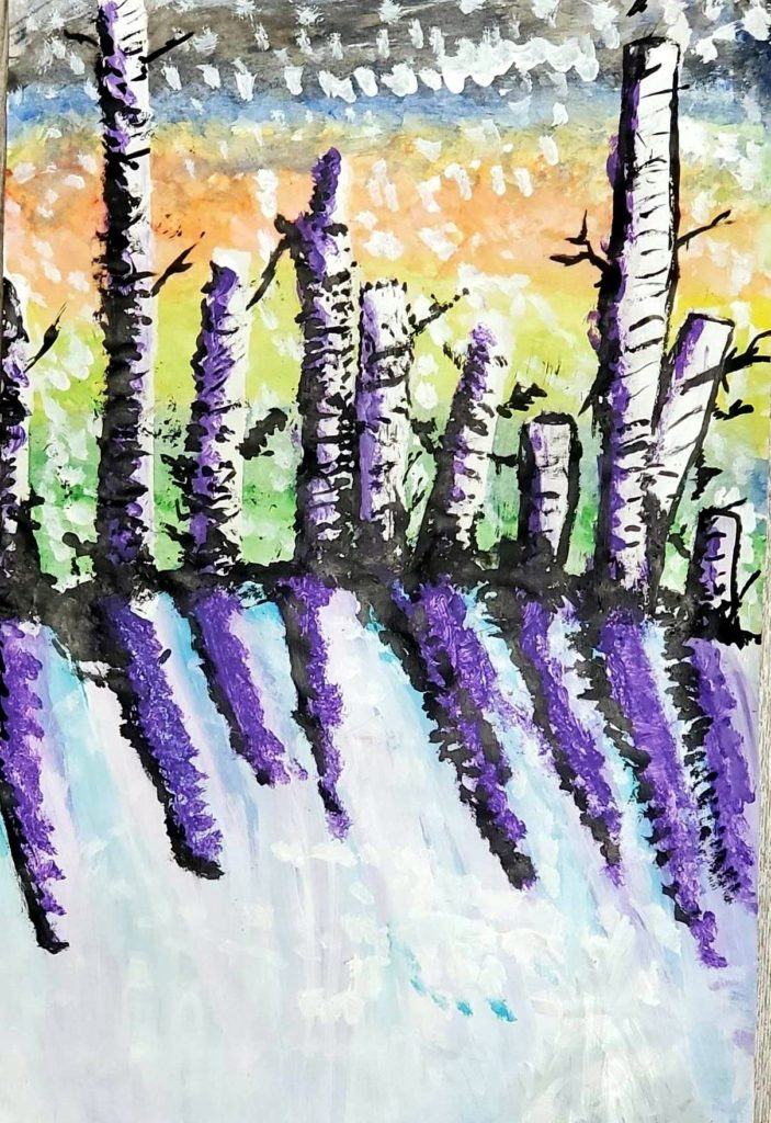 Treeline, Phillip Millwood, 7th Grade, Daphne Middle School, Painting, Acrylic