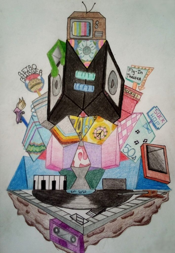 Retro Museum, Shylah Newman, 10th Grade, Bryant High School, 3/D Crafts, Colored Pencils, Pen