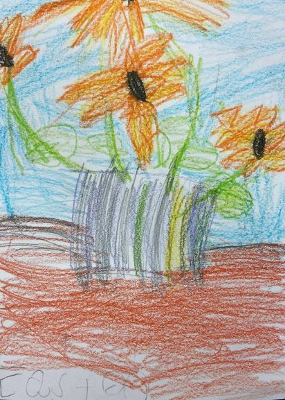 Sunflower, Easton Hand, Crayon on Paper