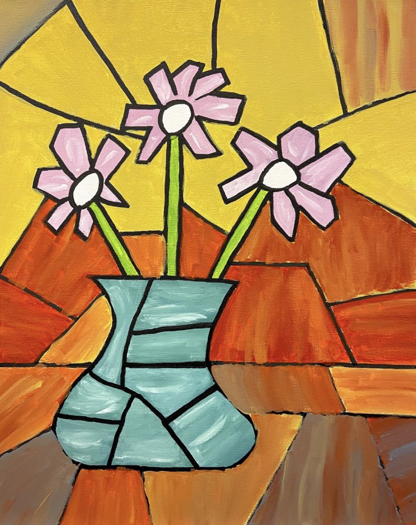 Cubist Still Life, Tailey Gunn, 12th Grade, Gulf Shores High School, Painting, Acrylic on Canvas