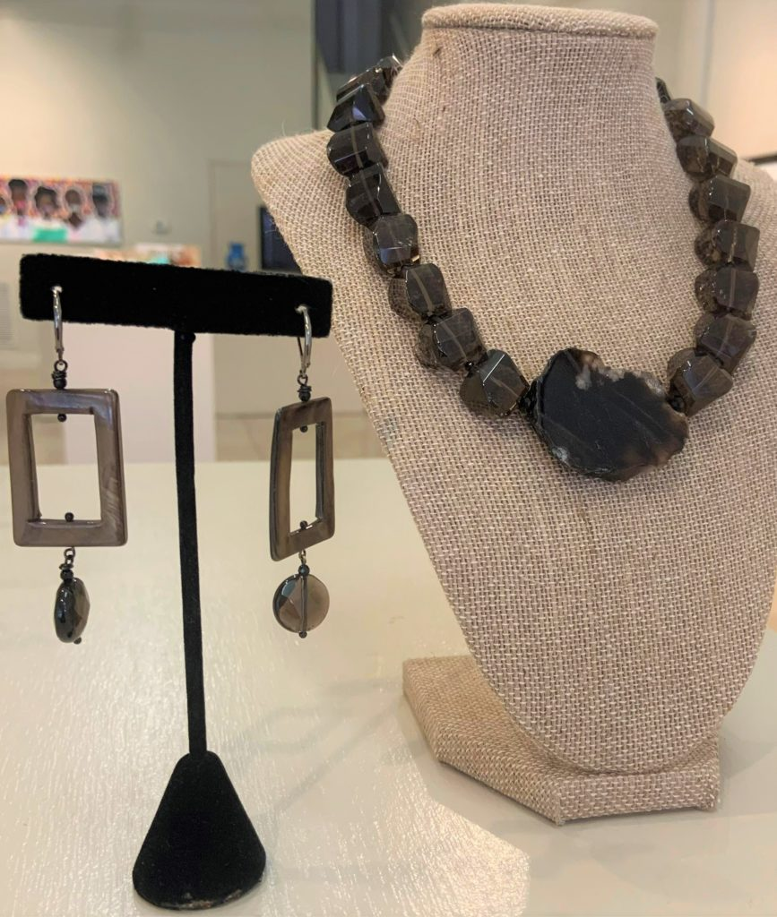 Smoky Topaz  Sterling silver & Shell, Oneida Moss-Moore, Jewelry, $120