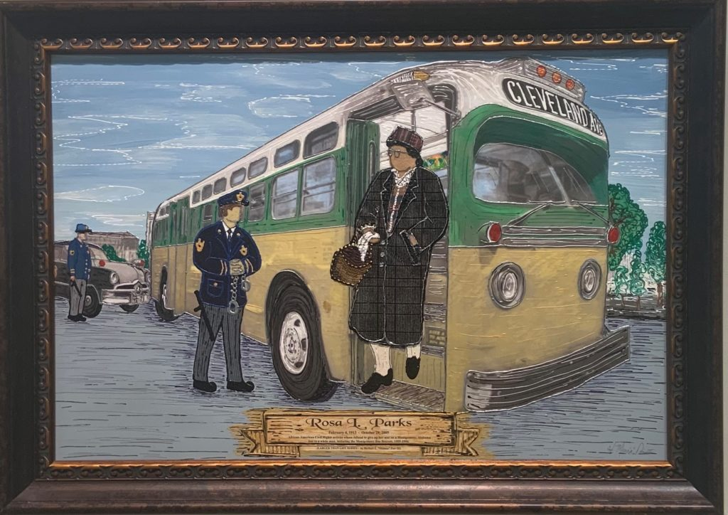 "Rosa Parks,  Herbert ""Mannie"" Pair, Mixed Media, $1200"