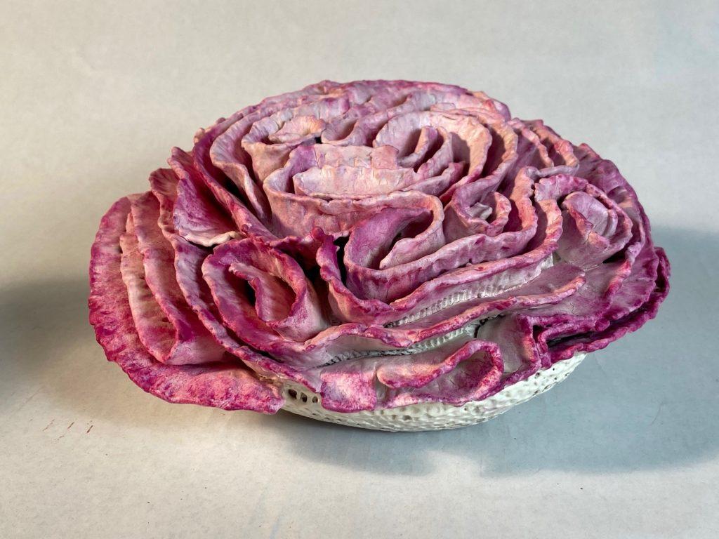 Ruffled Coral (pink), Susan Gibbs, Lizella clay, porcelain, $300