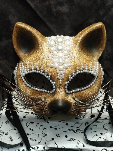 Feline Beaded Mask, Margarett Sikes, $125